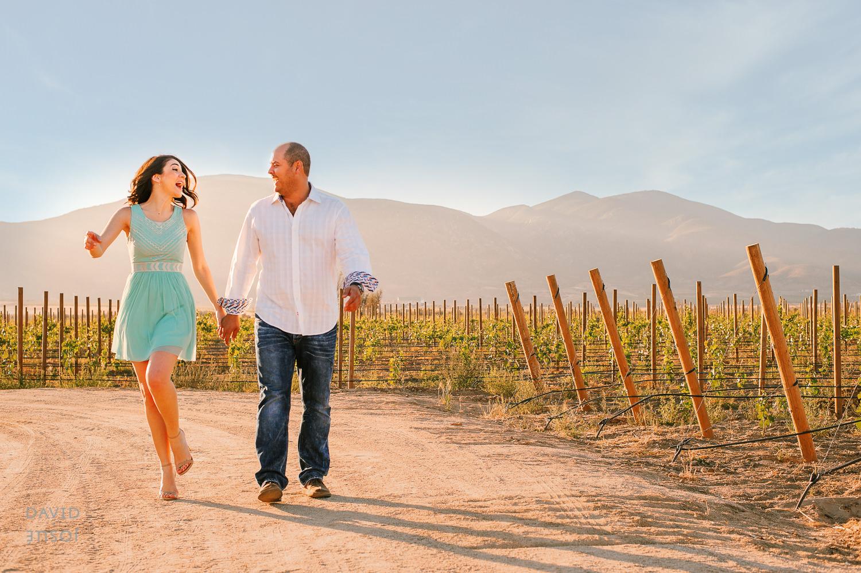 Walking by the vineyards at Vinicola El Cielo