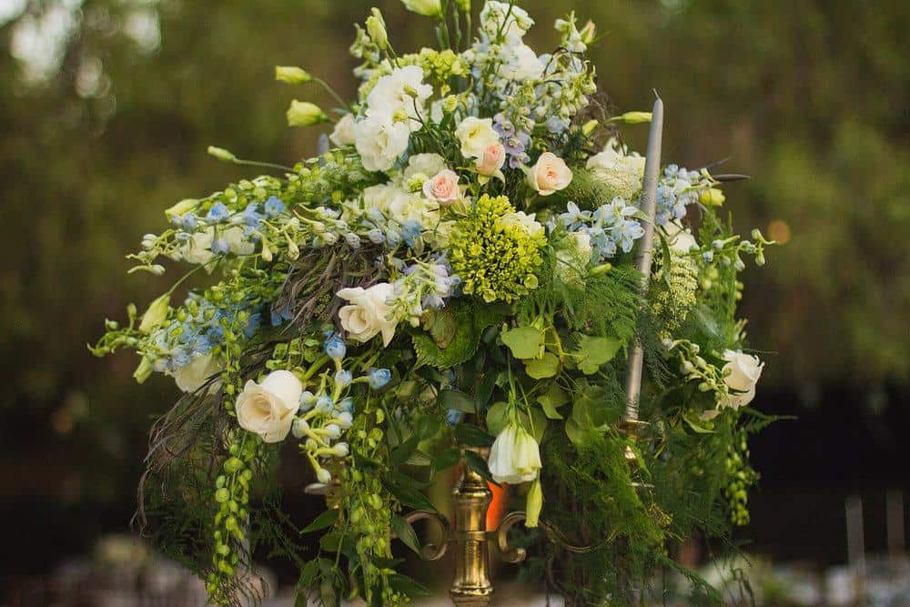 Blush Roses for tall centerpiece
