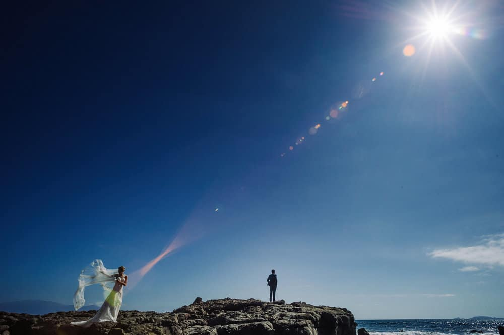 Bride and Groom landscape ensenada beach